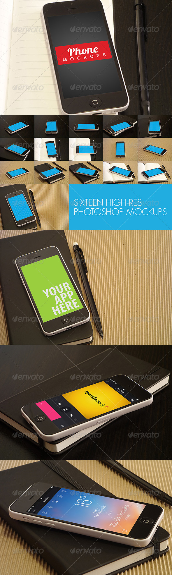 16 Phone Mockups - Mobile Displays