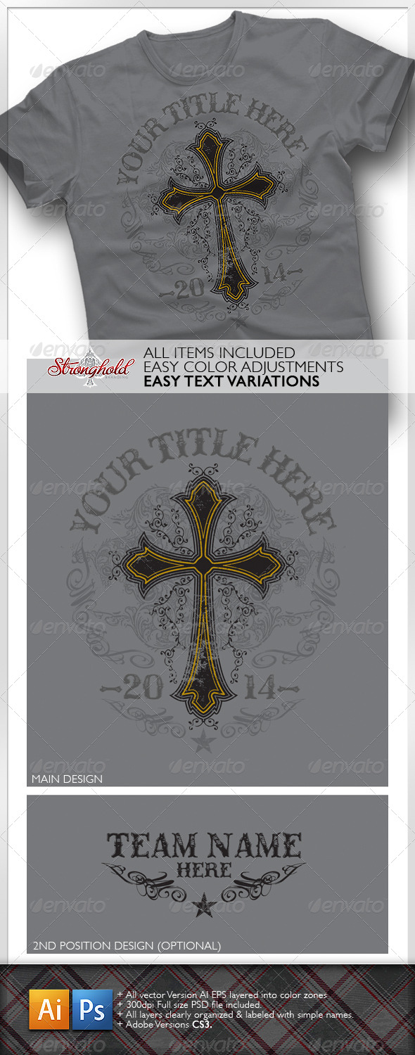 Western Cross Distressed T-shirt Design - T-Shirts