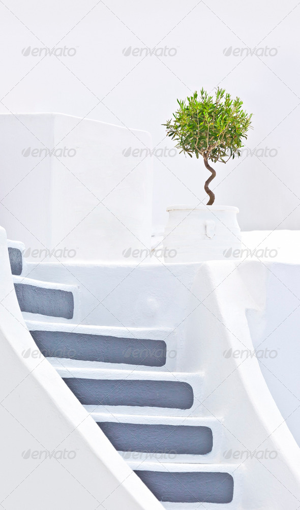 Santorini stairs - Stock Photo - Images