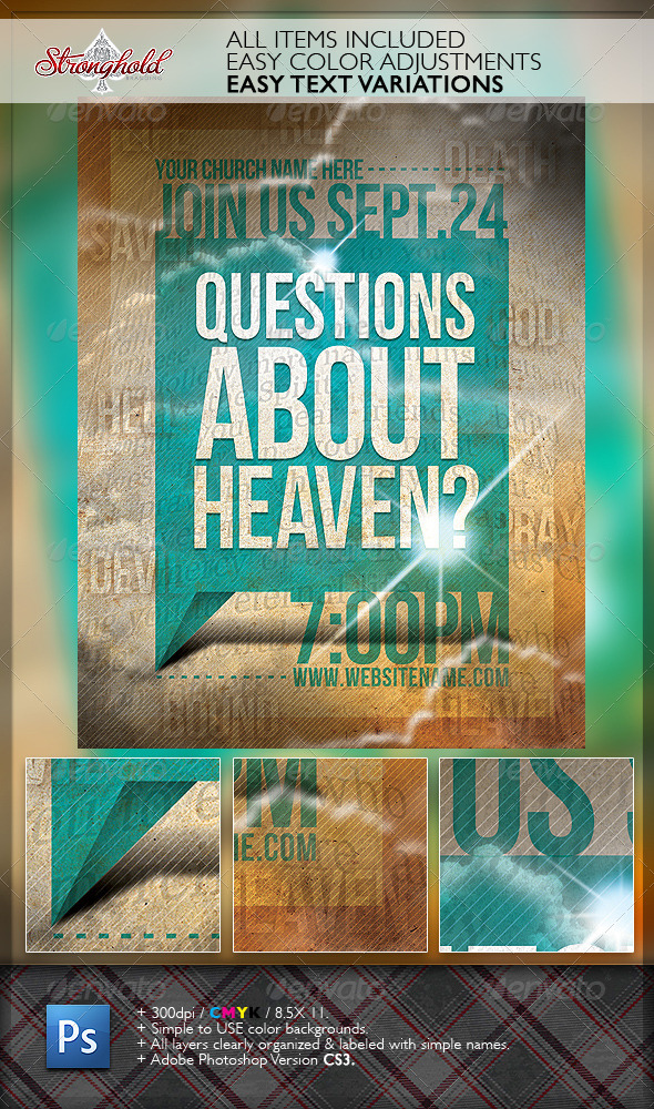 Question's About Heaven Flyer Template - Church Flyers