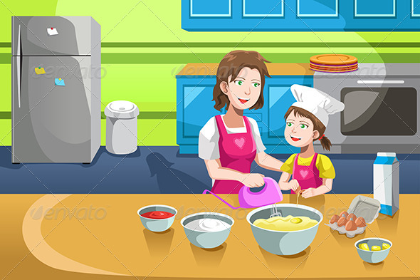 Mother Daughter Baking - People Characters