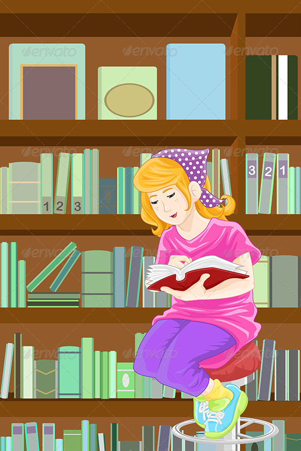 Girl Studying in Library - People Characters