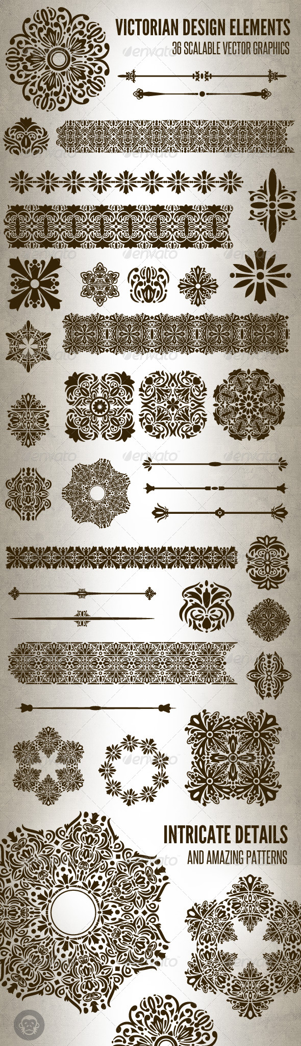36 Victorian Design Elements - Flourishes / Swirls Decorative