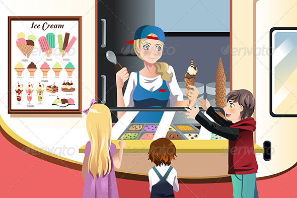 Kids Buying Ice Cream - People Characters