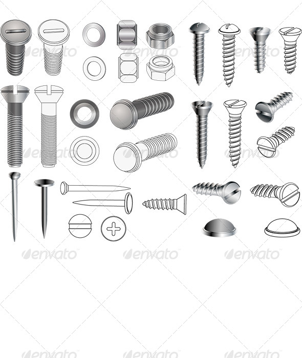 Complete Set of Bolts and Nuts   - Objects Vectors