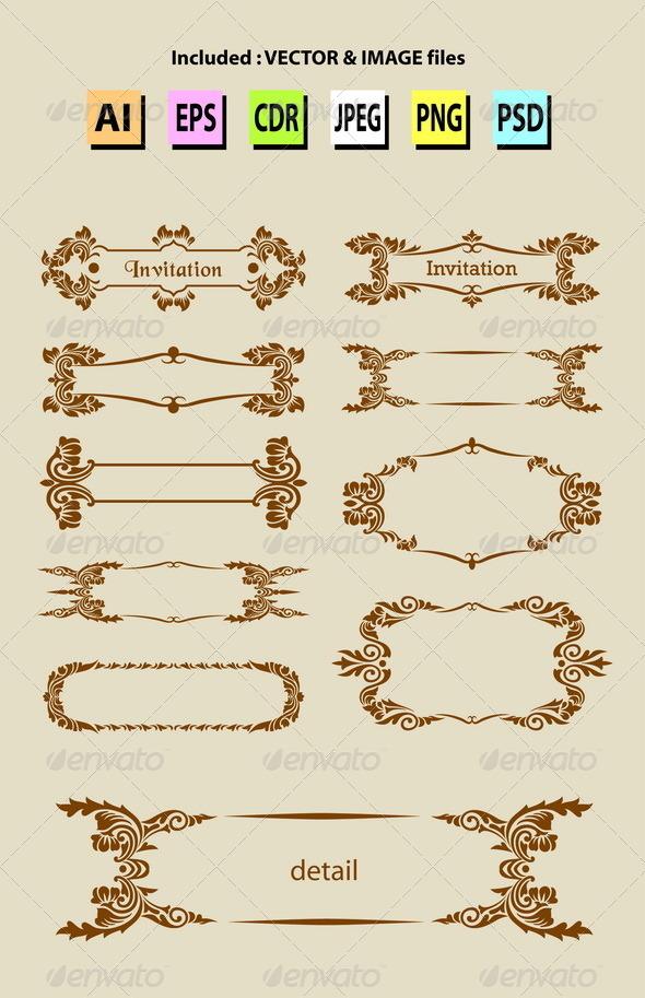 Label Ornament Decorations - Flourishes / Swirls Decorative