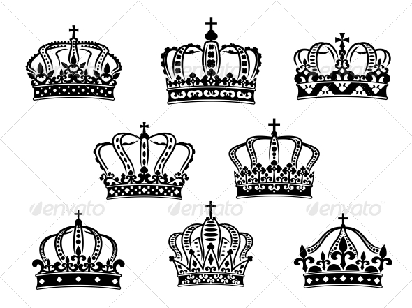 Collection of Heraldic Royal Crowns - Decorative Symbols Decorative