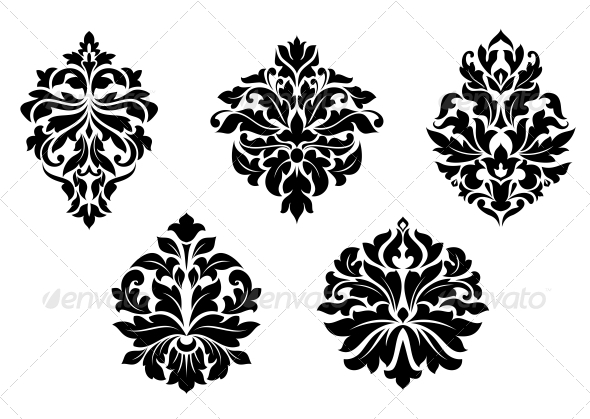 Damask Design Elements - Flourishes / Swirls Decorative