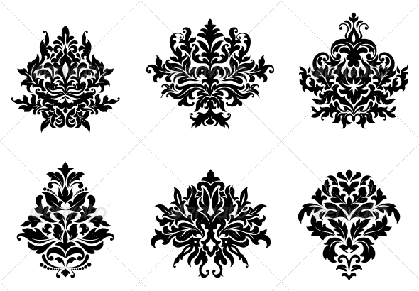 Floral and Foliate Design Elements - Flourishes / Swirls Decorative
