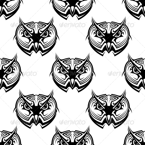 Seamless Pattern of Wise Old Owls - Patterns Decorative