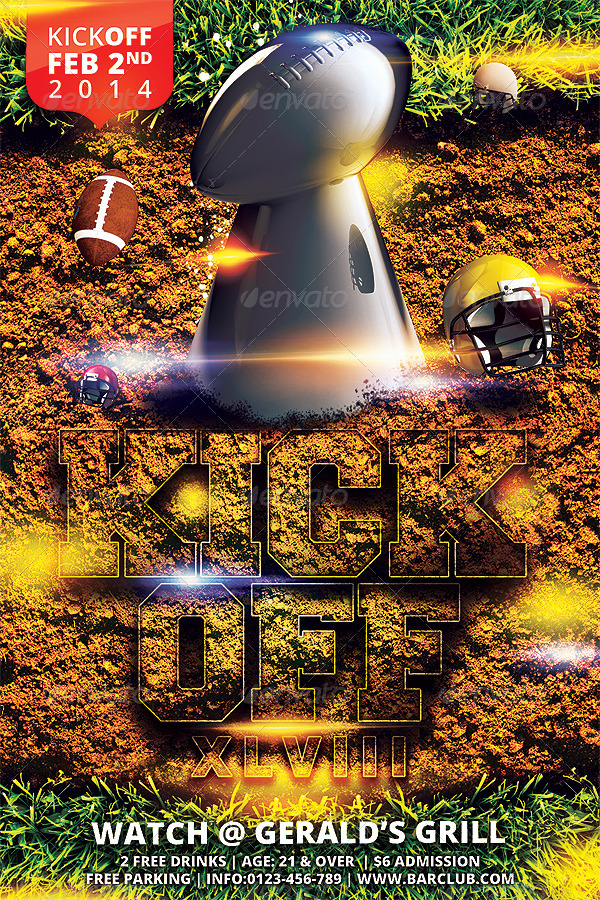 Kickoff Football Flyer Template By Hermz  Graphicriver