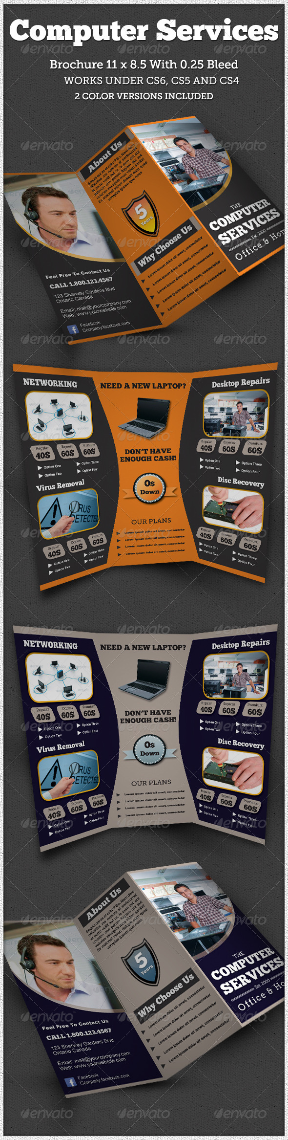 8 5 x 11 brochure template indesign - computer service trifold brochure indesign by amrhamza
