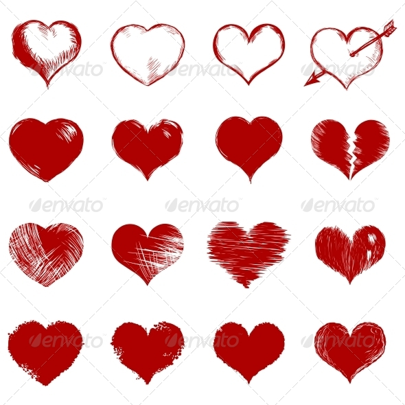Vector Set of Red Sketch Hearts - Valentines Seasons/Holidays