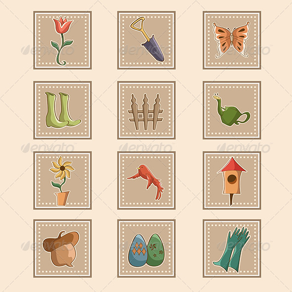 Spring Gardening Icons - Objects Vectors