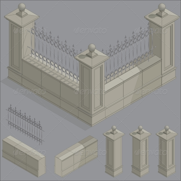 Isometric Fence, Construction Kit - Buildings Objects