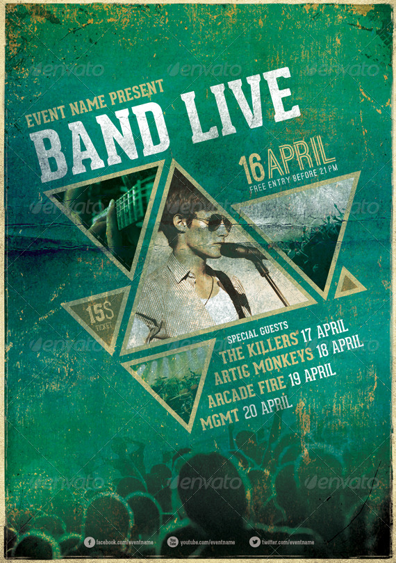 band live flyer  poster by like smith