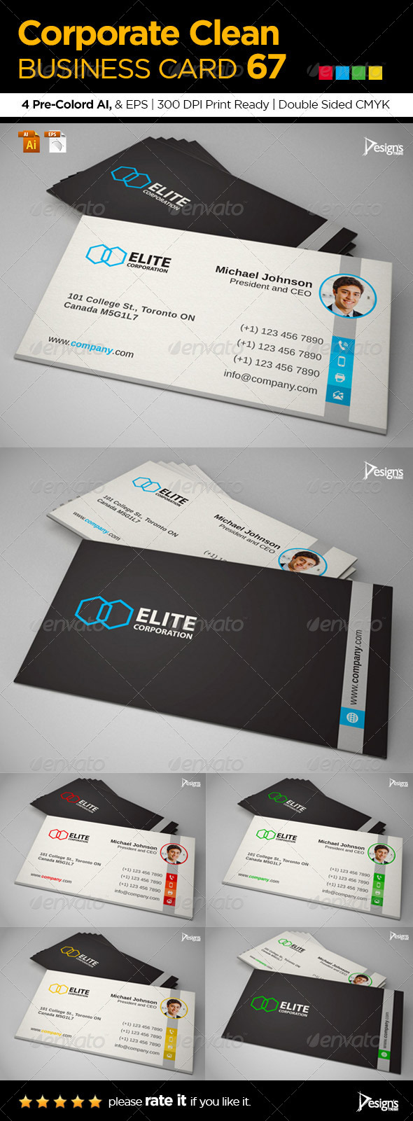 Corporate Clean Business Card 67 - Business Cards Print Templates