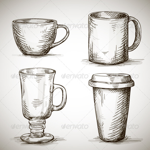Set of Coffee Mugs - Man-made Objects Objects