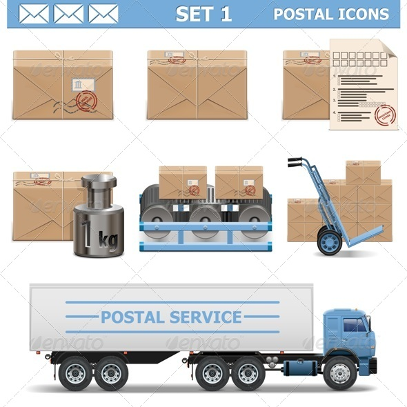 Vector Postal Icons Set 1 - Industries Business