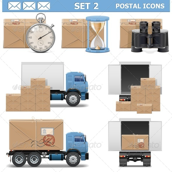 Vector Postal Icons Set 2 - Industries Business