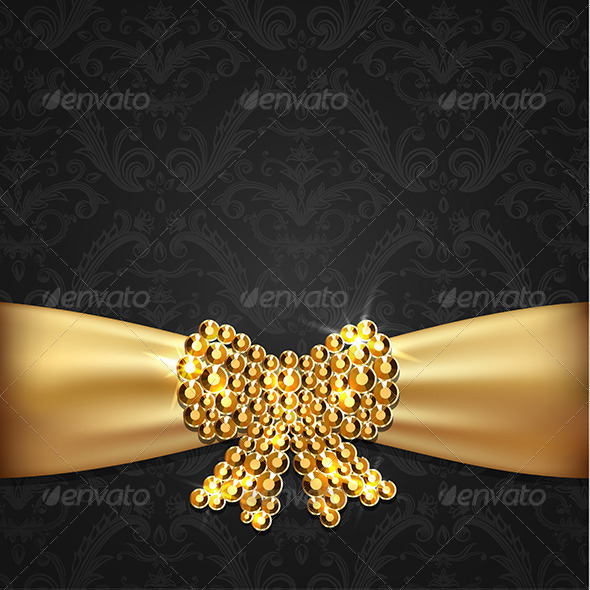 Golden Ribbon with Diamond Bow Decoration  - Decorative Vectors