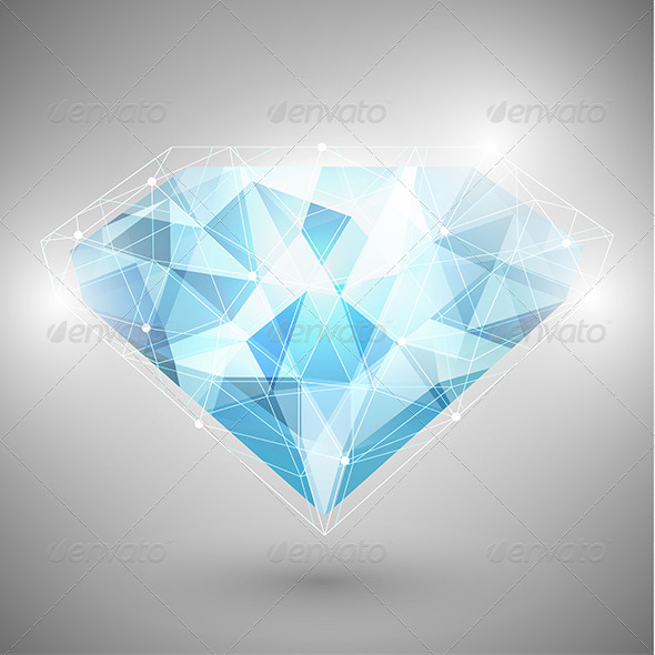 Abstract Diamond with Outlines - Objects Vectors