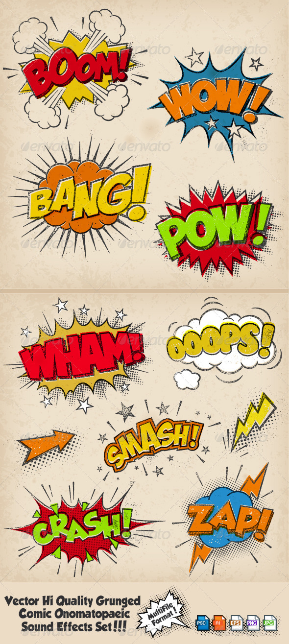 Grunged Multicolored Comic Sound Effects - Miscellaneous Vectors