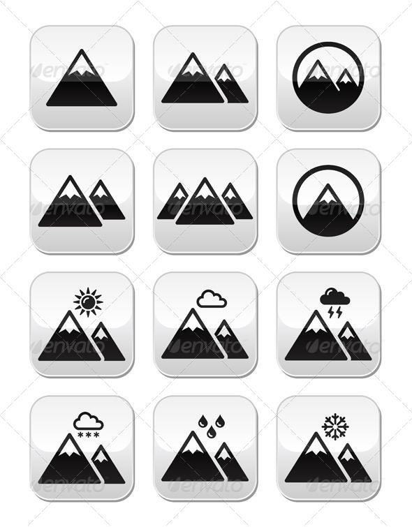 Mountain Buttons Set  - Landscapes Nature