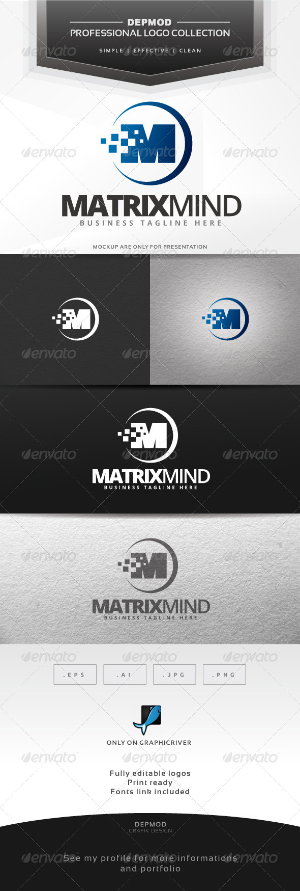 Matrix Mind Logo - Letters Logo Templates