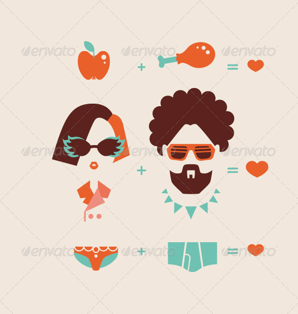 Man and Woman Couple in Love - People Characters