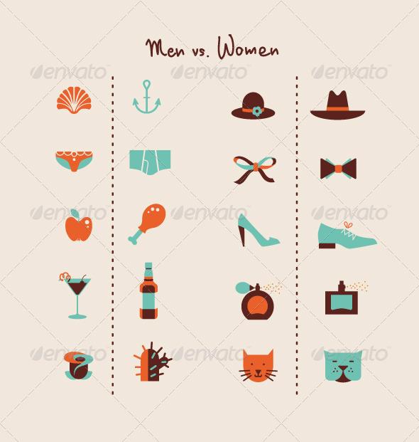 Man and Woman Symbols - Objects Vectors