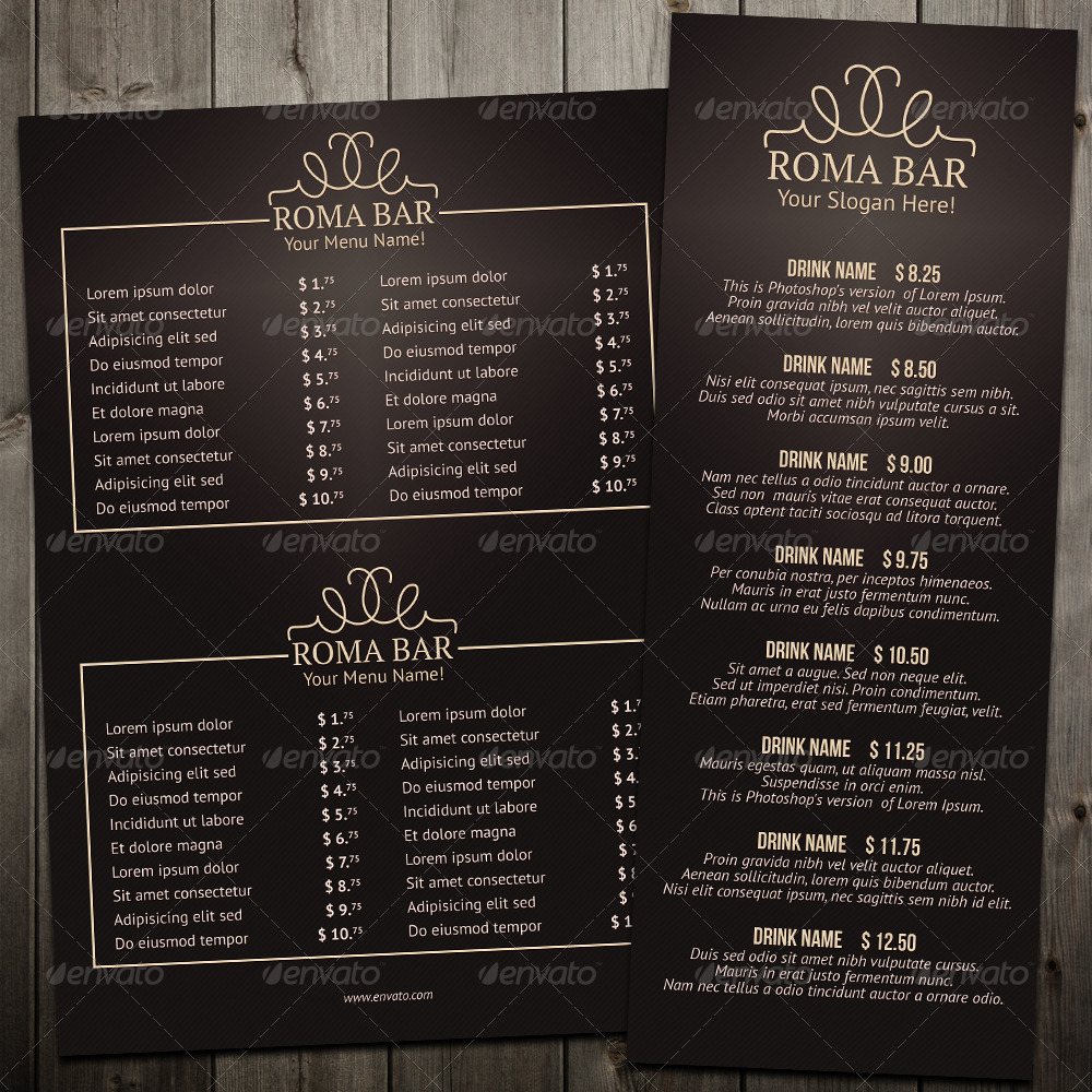 Elegant Bar Menu Template by erseldondar | GraphicRiver