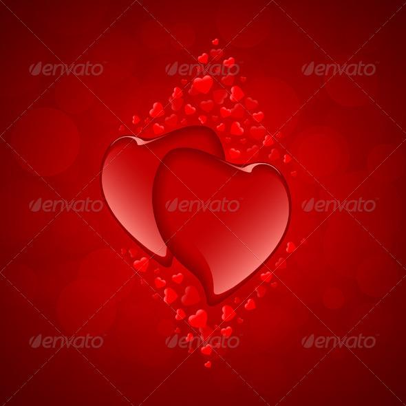 Red Hearts Valentine's Day Background - Valentines Seasons/Holidays