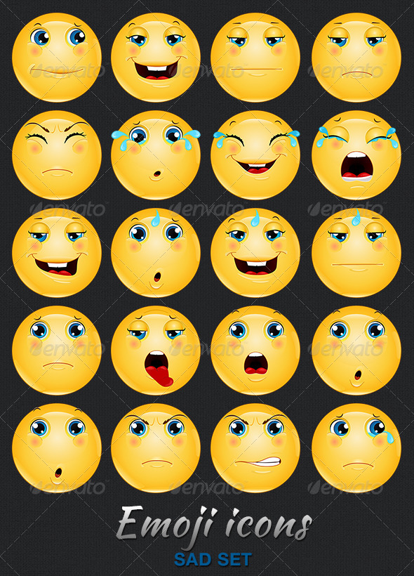 Emoji / Emoticon Sad Icons Set - People Characters