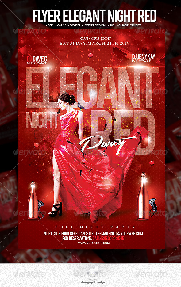 Flyer Elegant Night Red - Clubs & Parties Events