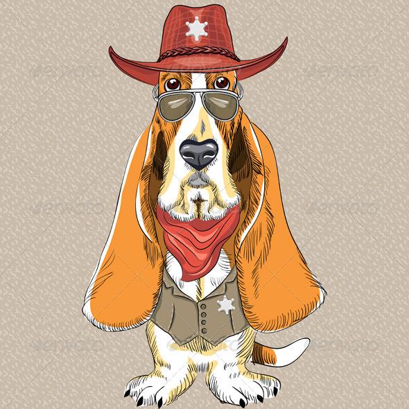 Cartoon Hipster Dog Basset Hound - Animals Characters
