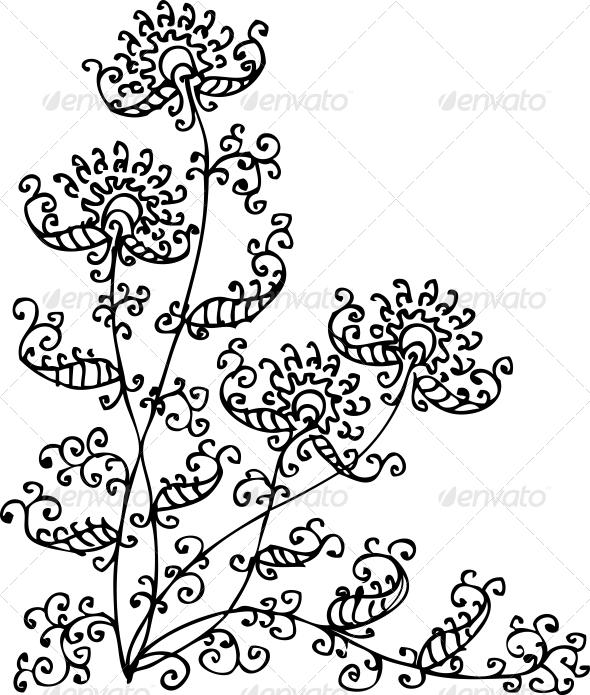 Floral Vignette CXXXII - Decorative Symbols Decorative