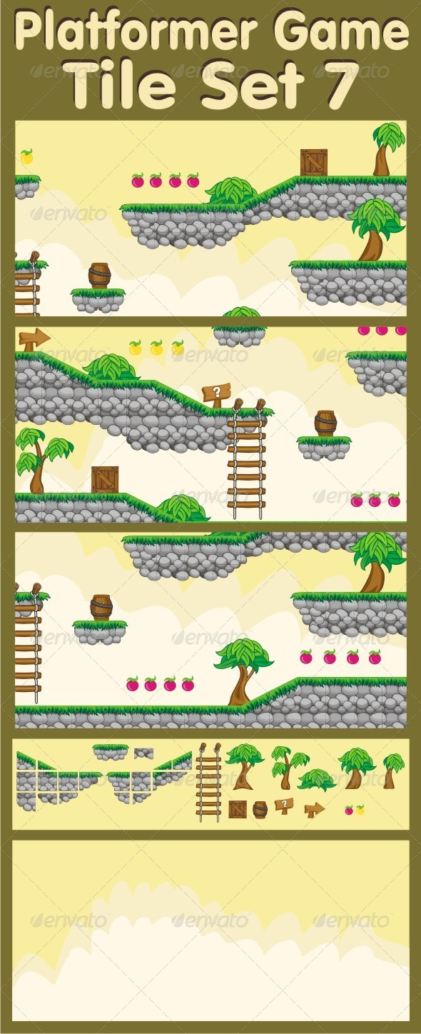 Platformer Game Tile Set 7 - Tilesets Game Assets