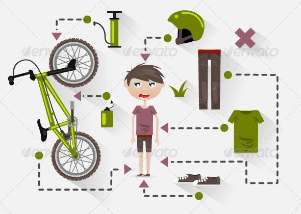 Flat Design Rider - Sports/Activity Conceptual