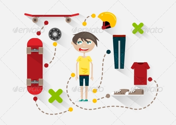 Flat Design Skater - Sports/Activity Conceptual