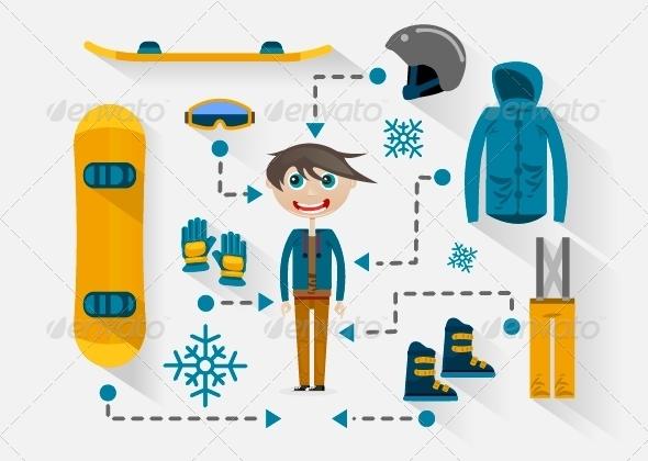 Flat Design Snowboarder - Sports/Activity Conceptual