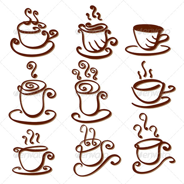 Set of Abstract Cup Illustrations - Decorative Symbols Decorative