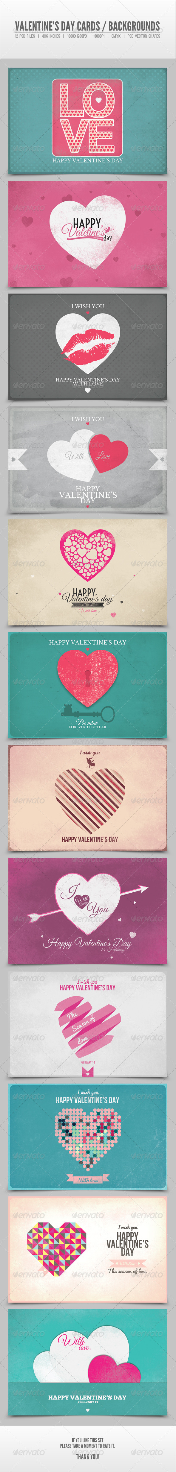 Valentine's Day Cards / Backgrounds Vol.4 - Backgrounds Graphics