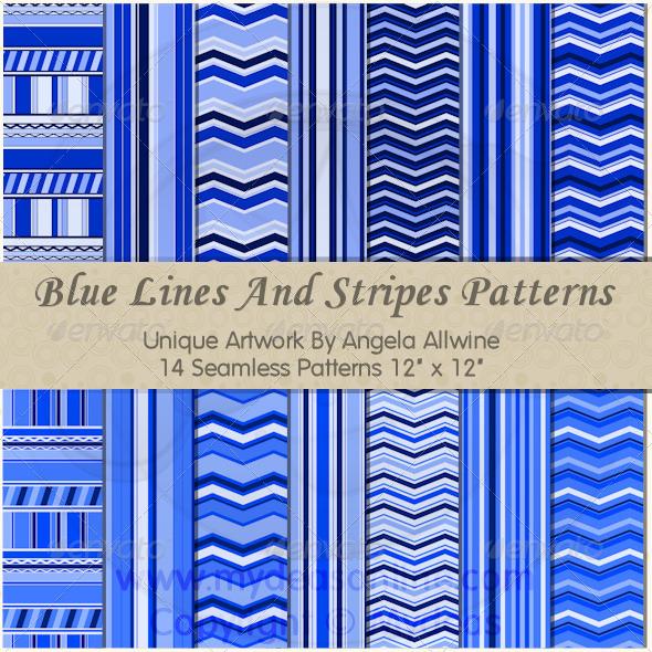 Blue Lines And Stripes Pattern Set - Patterns Backgrounds