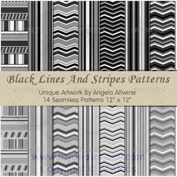 Black Lines And Stripes Pattern Set - Patterns Backgrounds
