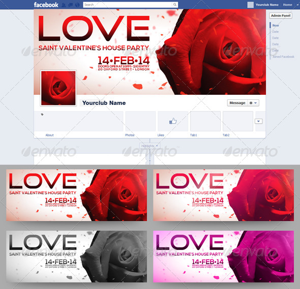 Saint Valentine's FB Timeline Cover 4 in 1 - Facebook Timeline Covers Social Media