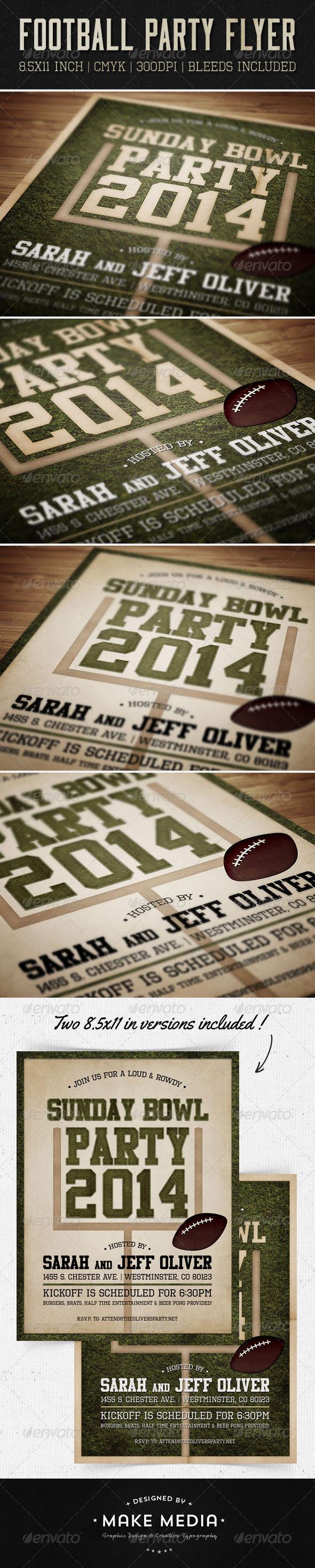 Sunday Bowl Flyer & Invitation - Sports Events