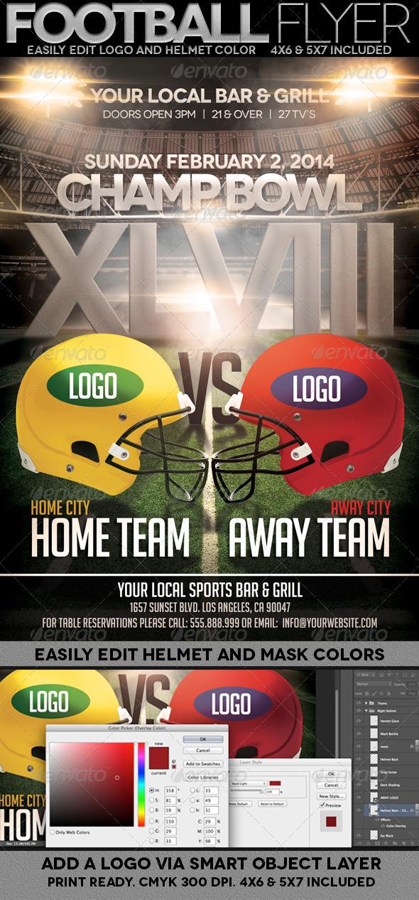 Football Championship Bowl Flyer - Events Flyers