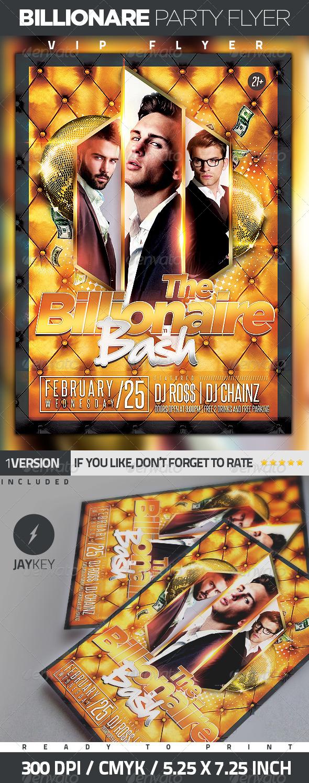 Billionaire Bash Party Flyer - Clubs & Parties Events