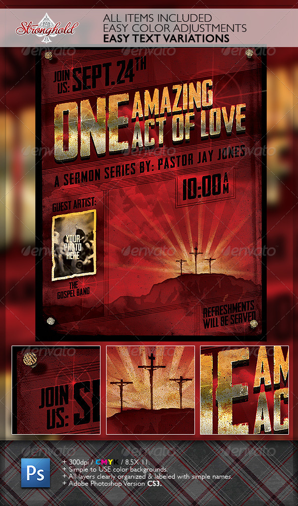 Vintage Church Service Flyer Template - Church Flyers